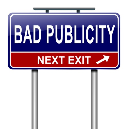 Illustration depicting a roadsign with a bad publicity concept. White background.