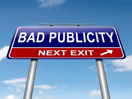 relaciones publicas: Ilustración que representa a un roadsign con un concepto de mala publicidad. Sky fondo.