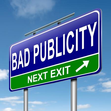 publicit�: Illustration repr�sentant un panneau routier avec un concept mauvaise publicit�. Fond de ciel. Banque d'images