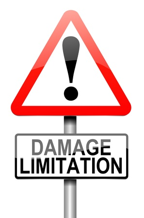 damaging: Illustration depicting a roadsign with a damage liability concept. White background. Stock Photo