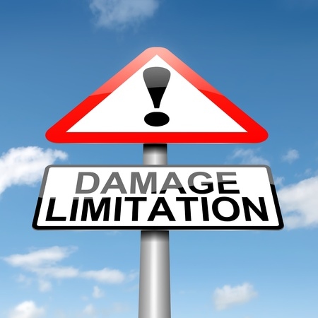 limitations: Illustration depicting a roadsign with a damage liability concept. Blue sky background. Stock Photo