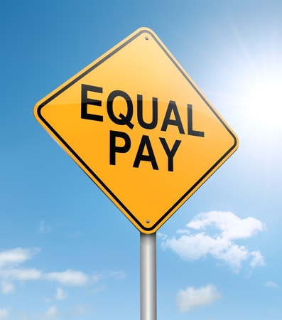 equal: Illustration depicting a roadsign with an equal pay concept. Sky background.