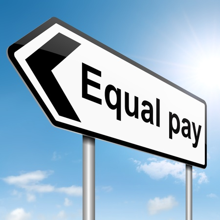 unequal: Illustration depicting a roadsign with an equal pay concept. Sky background.