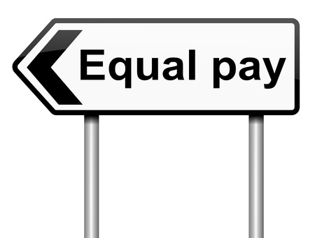 equal: Illustration depicting a roadsign with an equal pay concept. White background. Stock Photo