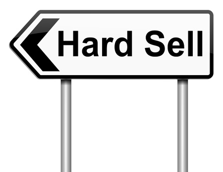 hard sell: Illustration depicting a roadsign with a hard sell concept. White background. Stock Photo