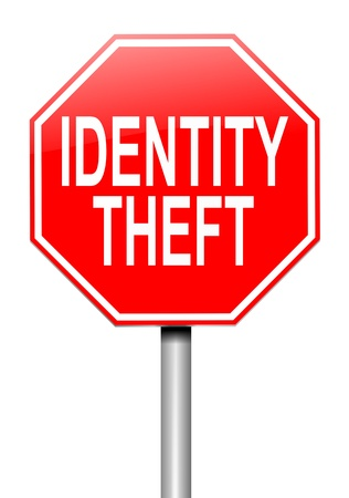 compromised: Illustration depicting a roadsign with an identity theft concept. White background. Stock Photo