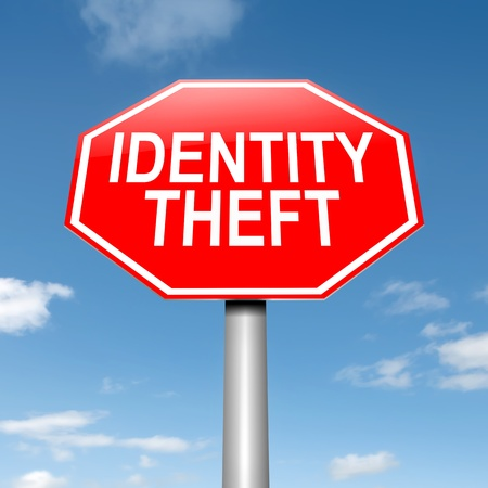 compromised: Illustration depicting a roadsign with an identity theft concept. Sky background. Stock Photo