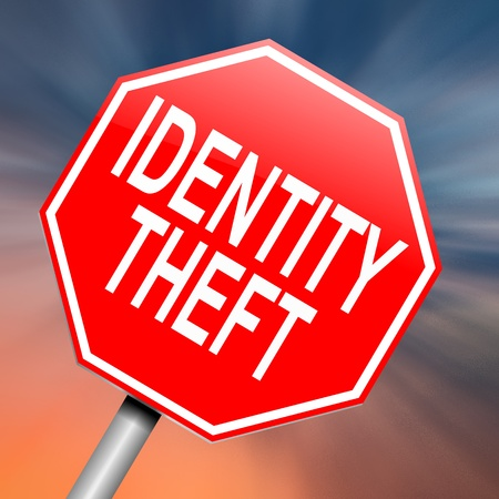 data theft: Illustration depicting a roadsign with an identity theft concept. Abstract background. Stock Photo