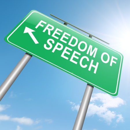 Illustration depicting a roadsign with a freedom of speech concept. Sky background. Фото со стока