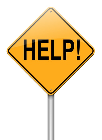 predicament: Illustration depicting a roadsign with a help concept. White background. Stock Photo