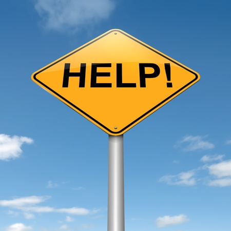 predicament: Illustration depicting a roadsign with a help concept. Sky background. Stock Photo