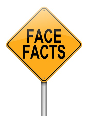 facts: Illustration depicting a roadsign with a face facts concept  White background