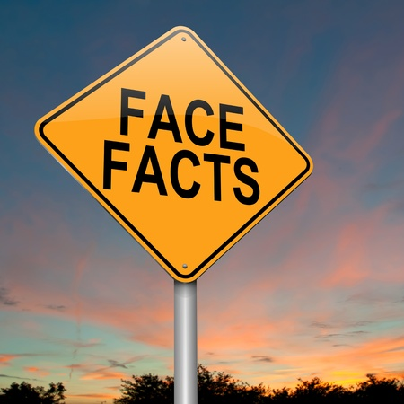facts: Illustration depicting a roadsign with a face facts concept  Sunset sky background