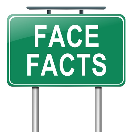 Circumstance: Illustration depicting a roadsign with a face facts concept  White background