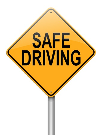 safely: Illustration depicting a roadsign with a safe driving concept  White background  Stock Photo