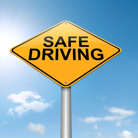 Illustration depicting a roadsign with a safe driving concept  Sky background Stock Illustration - 15842163