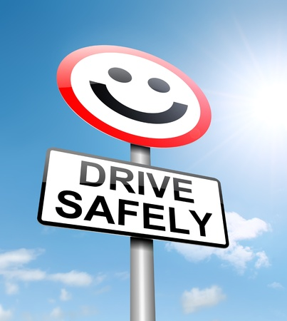 drives: Illustration depicting a roadsign with a safe driving concept  Sky background  Stock Photo