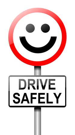 warning against a white background: Illustration depicting a roadsign with a safe driving concept  White background  Stock Photo