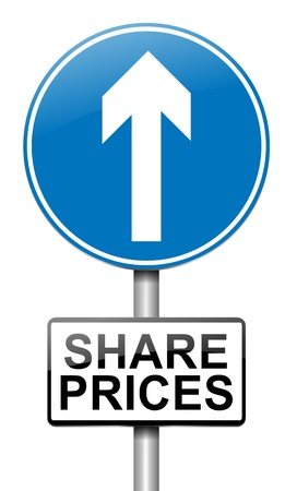 Illustration depicting a roadsign with a share price concept  White background  Stock Illustration - 15842134
