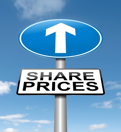 Illustration depicting a roadsign with a share price concept  Blue sky background  Stock Illustration - 15842150