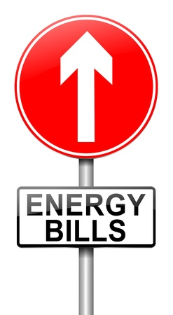 electricity tariff: Illustration depicting a roadsign with a energy bill increase concept  White background