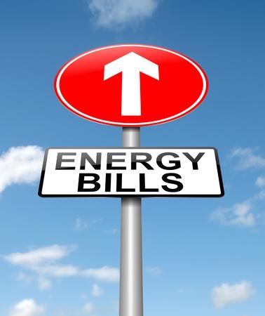 에너지 비용 증가 개념의 하늘 배경으로 roadsign을 묘사 한 그림