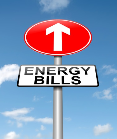 bill: Illustration depicting a roadsign with a energy bill increase concept  Sky background