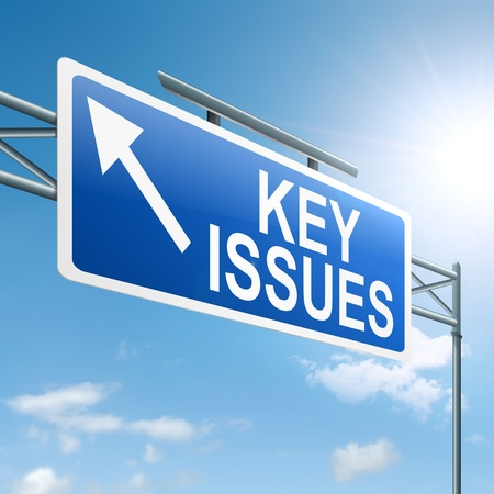 Illustration depicting a roadsign with a key issues concept  Sky background