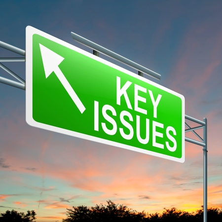 issue: Illustration depicting a roadsign with a key issues concept  Sky background