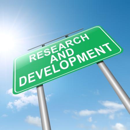 Illustratie afbeelding van een bord met een onderzoeks-en ontwikkelingsconcept Sky achtergrond Stockfoto