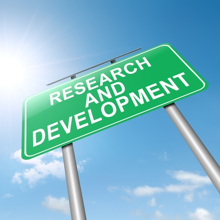 product development: Illustration depicting a roadsign with a research and development concept  Sky background  Stock Photo