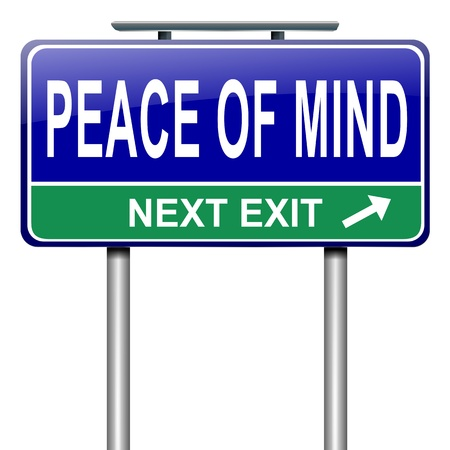 'peace of mind': Illustration depicting a roadsign with a peace of mind concept. White background. Stock Photo