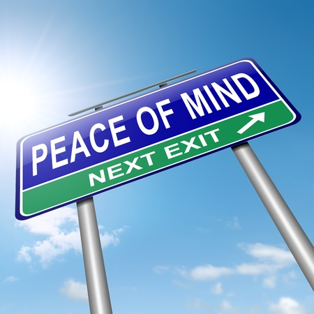 peaceful: Illustration depicting a roadsign with a peace of mind concept  Sky background  Stock Photo