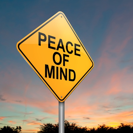 'peace of mind': Illustration depicting a roadsign with a peace of mind concept  Dusk sky background