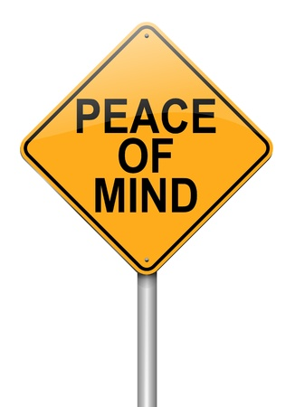 reassurance: Ilustraci�n que representa a un roadsign con una paz de la mente concepto de fondo blanco