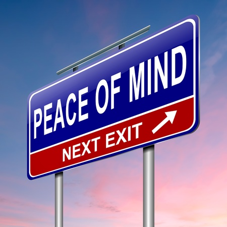 peace: Illustration depicting a roadsign with a peace of mind concept  Sky background  Stock Photo