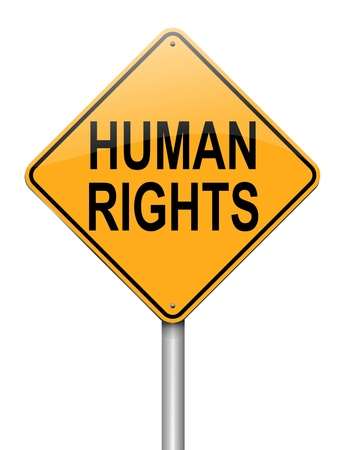 human rights: Illustration depicting a roadsign with a human rights concept  White background  Stock Photo