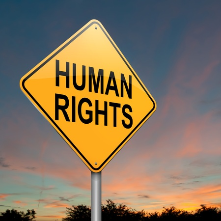 liberation: Illustration depicting a roadsign with a human rights concept  Dusk sky background