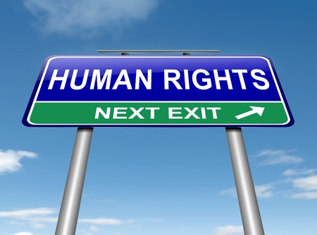 Illustration depicting a roadsign with a human rights concept  Sky background  Stock Illustration - 16059670