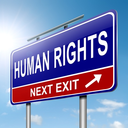 human rights: Illustration depicting a roadsign with a human rights concept  Sky background  Stock Photo