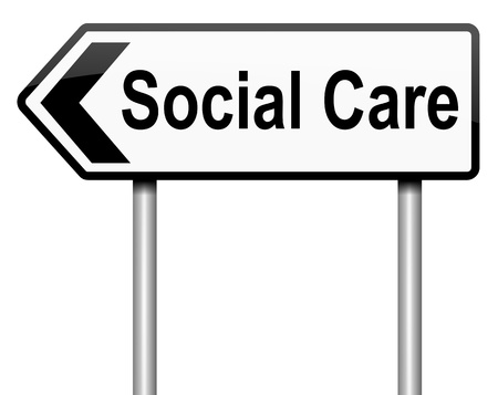 welfare: Illustration depicting a roadsign with a social care concept  White background