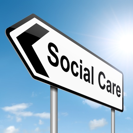 community health: Illustration depicting a roadsign with a social care concept  Sky background