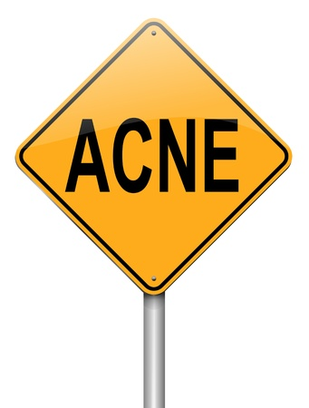 teenage problems: Illustration depicting a roadsign with an acne concept  White background  Stock Photo