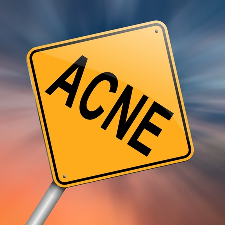dermatology: Illustration depicting a roadsign with an acne concept  Abstract background  Stock Photo