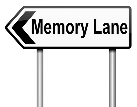reminisce: Illustration depicting a roadsign with a memory lane concept  White background