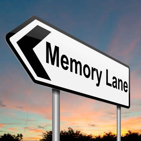 reminisce: Illustration depicting a roadsign with a memory lane concept  Dusk sky background  Stock Photo