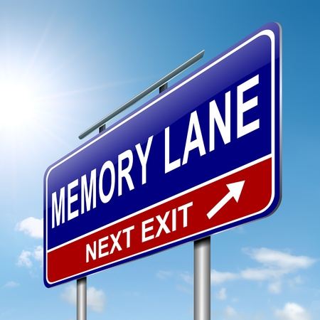 recall: Illustration depicting a roadsign with a memory lane concept  Sky background