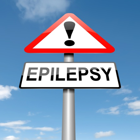 epilepsy: Illustration depicting a roadsign with an epilepsy concept. Sky background.