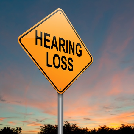 impairment: Illustration depicting a roadsign with a hearing loss concept. Sunset sky background.