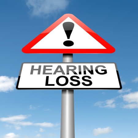 Illustration depicting a roadsign with a hearing loss concept. Sky background.